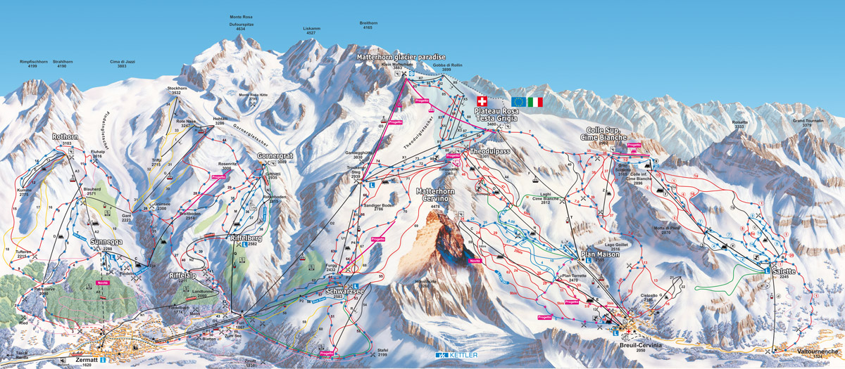 cervinia-zermatt - map