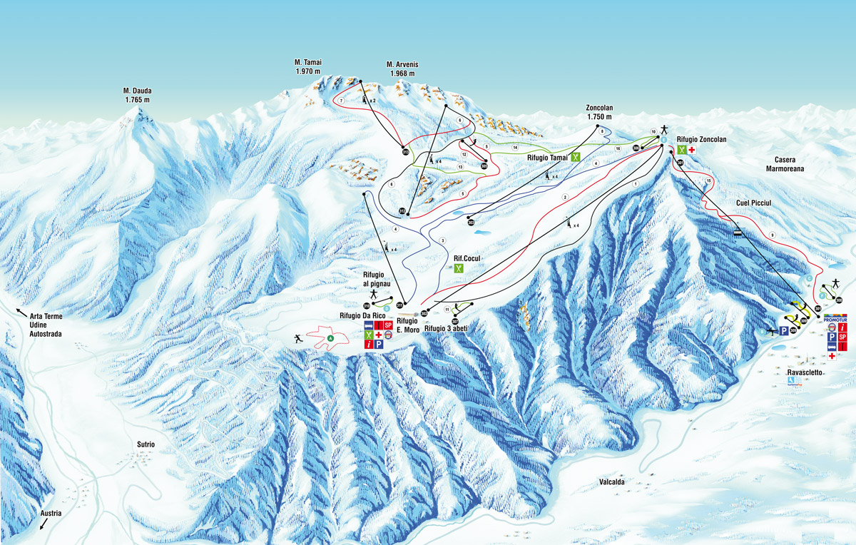 ravascletto-zoncolan - map