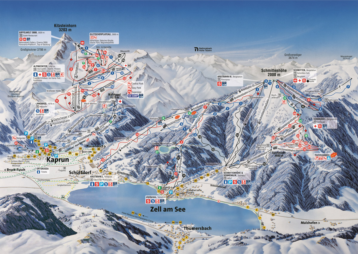 Zell am See / Kaprun - ski map